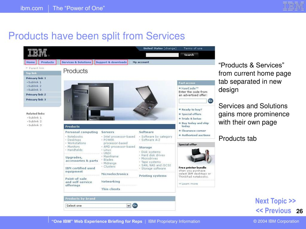 Products have been split from Services