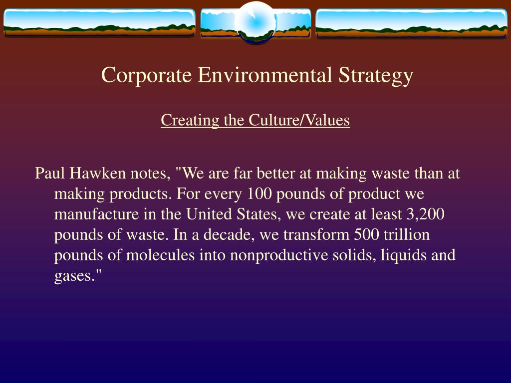 corporate environmental strategy l.