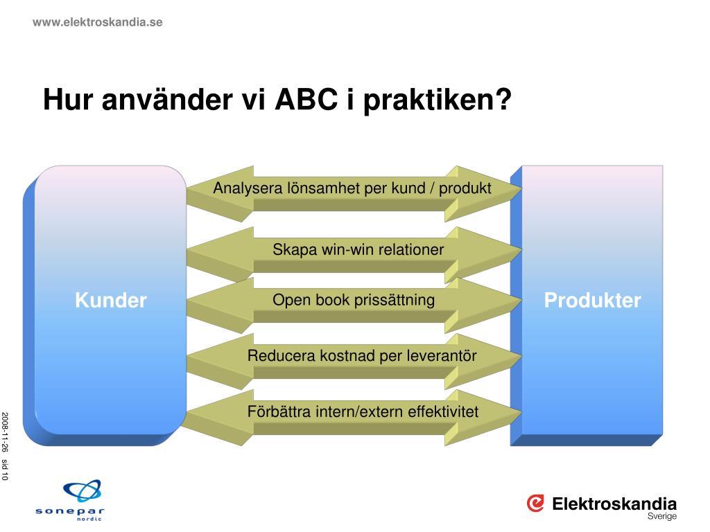 Hur använder vi ABC i praktiken?