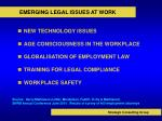 emerging legal issues at work