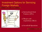 investment options for servicing foreign markets