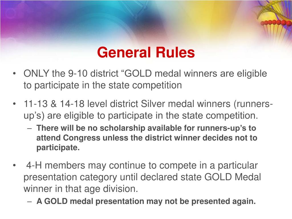 "ONLY the 9-10 district ""GOLD medal winners are eligible to participate in the state competition"