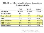 eblse en ville caract ristiques des patients etude onerba