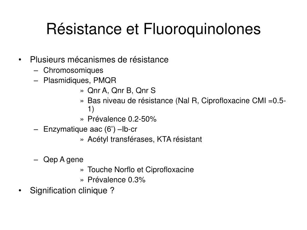 Résistance et Fluoroquinolones