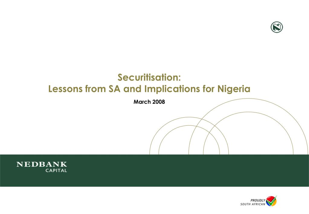 securitisation lessons from sa and implications for nigeria l.