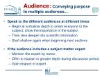 audience conveying purpose to multiple audiences72