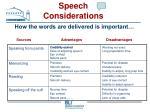 speech considerations75