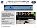 2008 lunar reconnaissance orbiter lro first step in the robotic lunar exploration program