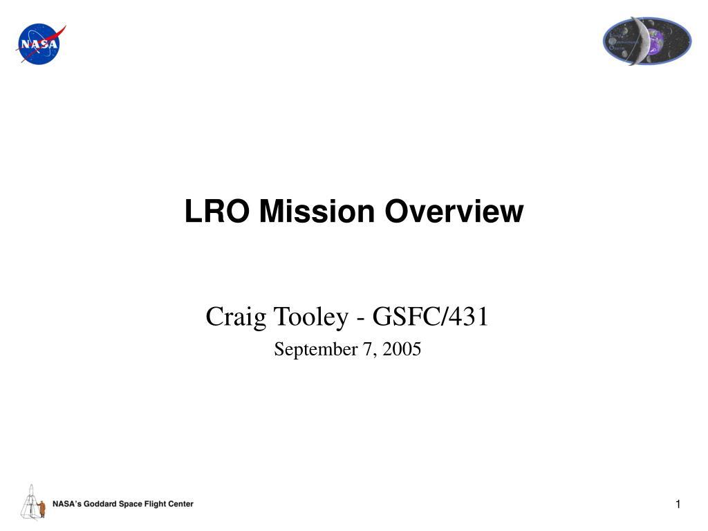 lro mission overview l.