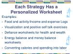 each strategy has a personalized worksheet