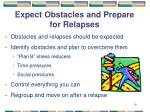 expect obstacles and prepare for relapses