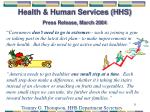 health human services hhs press release march 2004