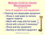 methods to kill or control microorganisms continued care of supplies and equipment