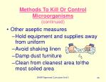 methods to kill or control microorganisms continued34