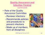 quality assurance and infection control continued