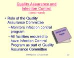 quality assurance and infection control continued107