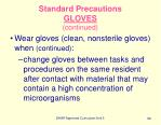 standard precautions gloves continued