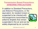 transmission based precautions airborne precautions