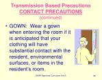 transmission based precautions contact precautions continued88