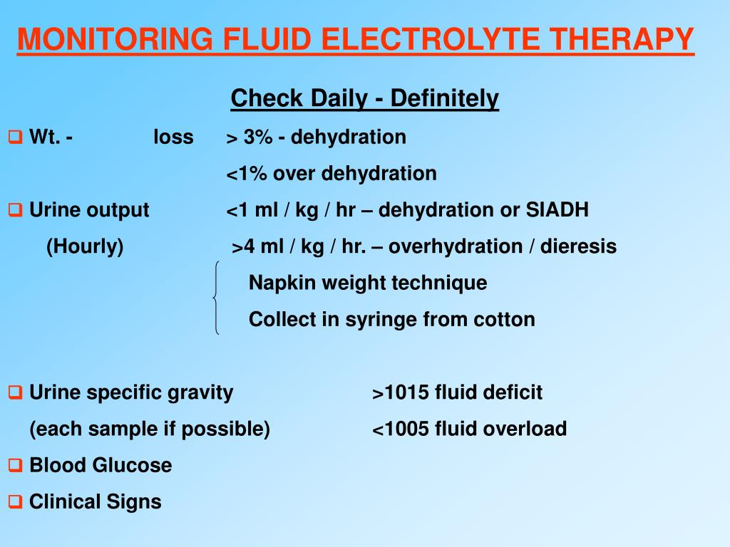 MONITORING FLUID ELECTROLYTE THERAPY