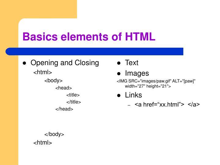 Basics elements of html