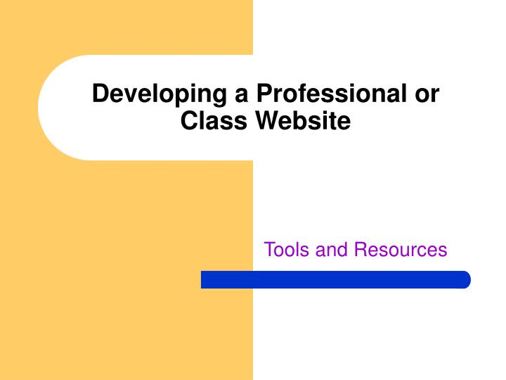 Developing a professional or class website