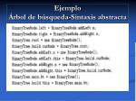 ejemplo rbol de b squeda sintaxis abstracta