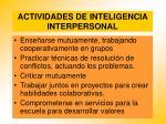 actividades de inteligencia interpersonal
