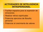 actividades de inteligencia intrapersonal77