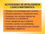 actividades de inteligencia logico matematica