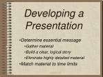 developing a presentation8