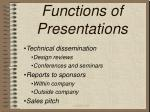 functions of presentations