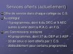 services offerts actuellement
