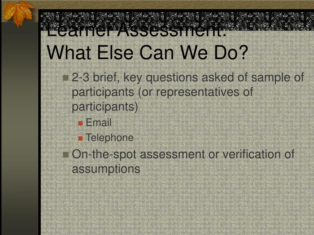 Learner Assessment: