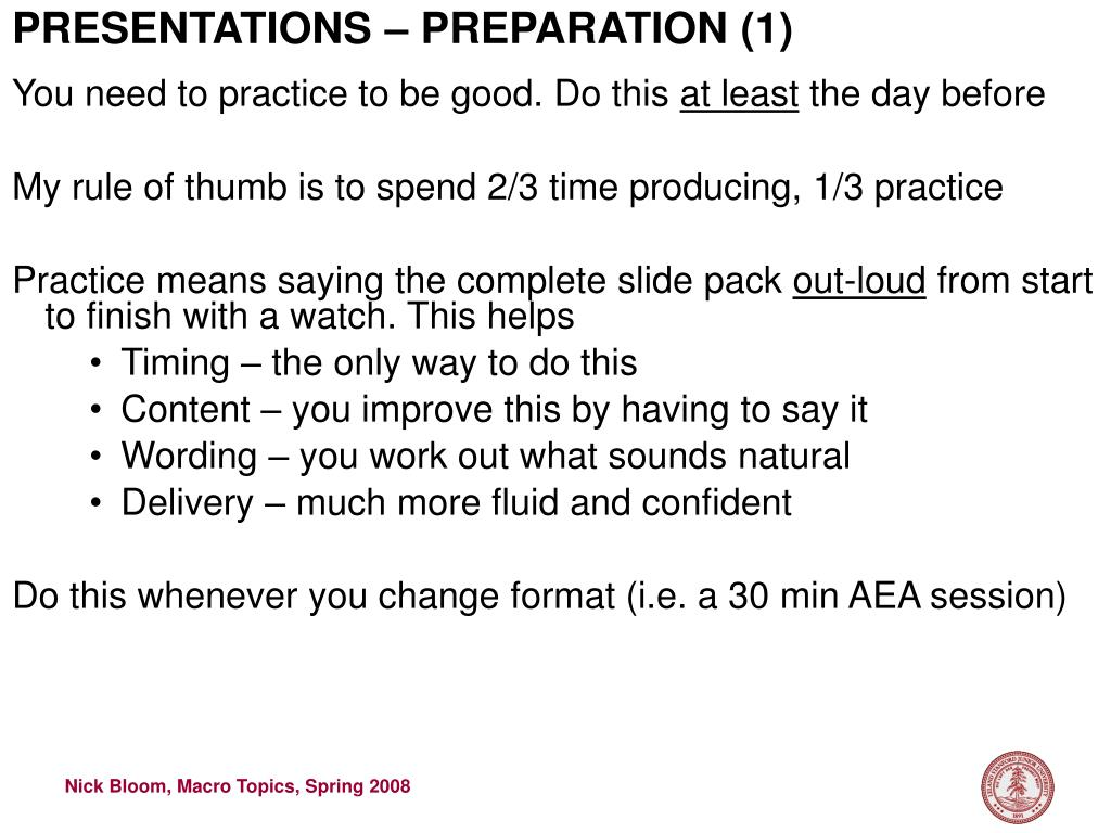 PRESENTATIONS – PREPARATION (1)