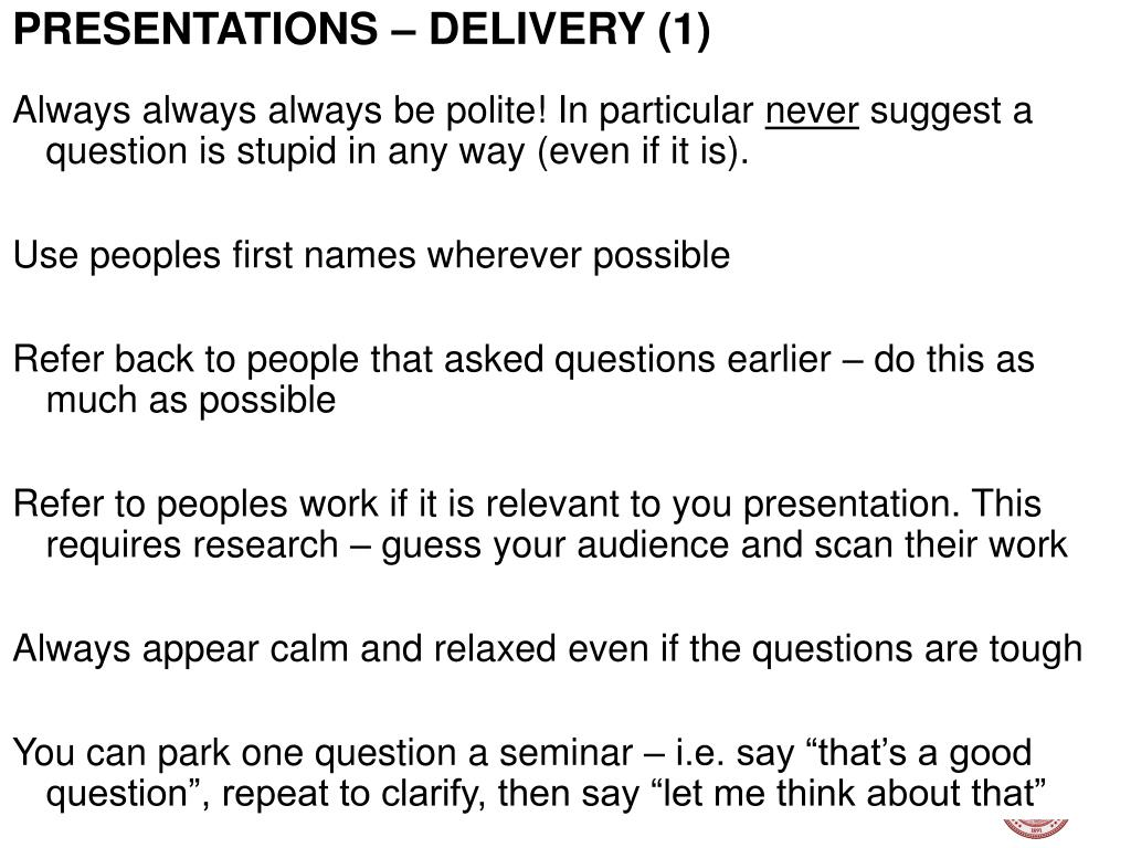 PRESENTATIONS – DELIVERY (1)