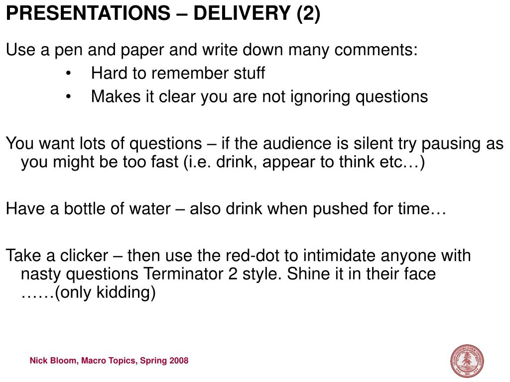 PRESENTATIONS – DELIVERY (2)