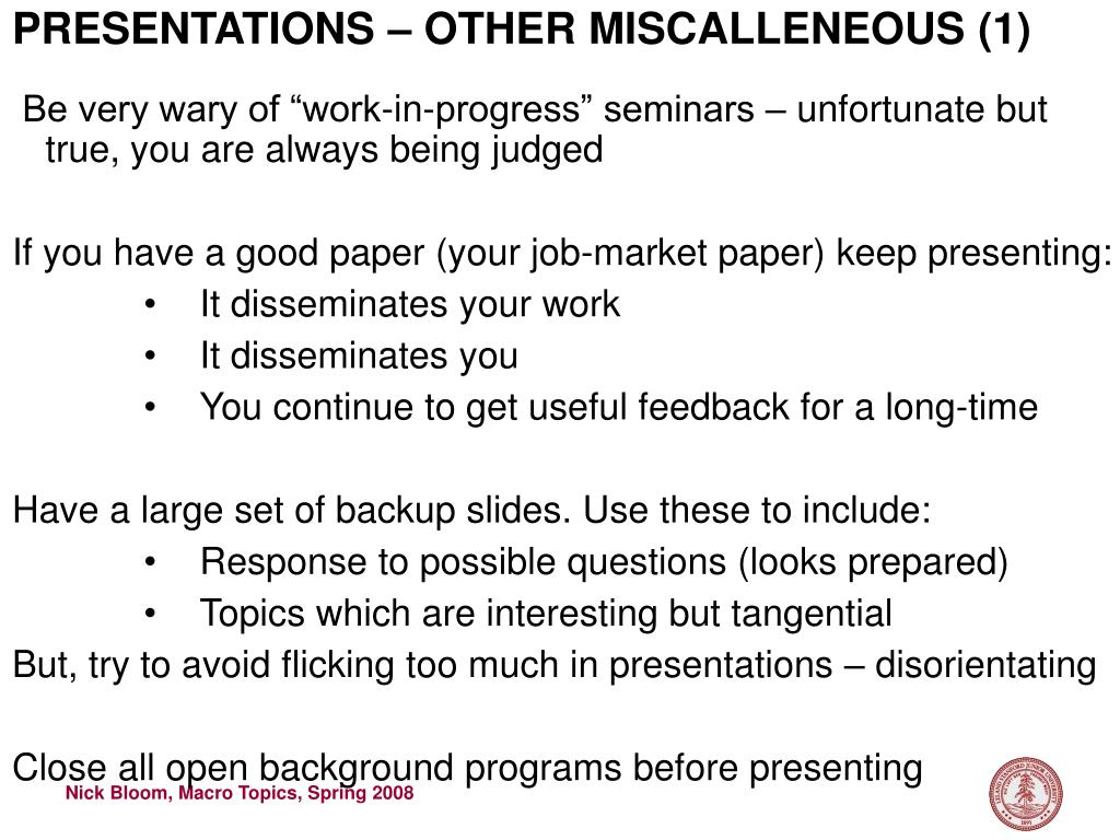 PRESENTATIONS – OTHER MISCALLENEOUS (1)
