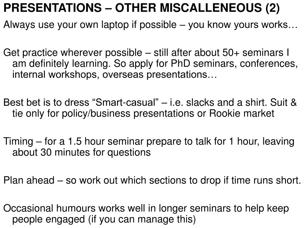 PRESENTATIONS – OTHER MISCALLENEOUS (2)
