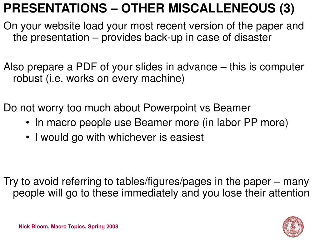 PRESENTATIONS – OTHER MISCALLENEOUS (3)