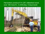 harvesters produce 6 m 20 debarked wood over 100 trees hr 3 shifts day 6 days week