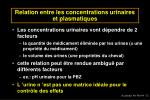relation entre les concentrations urinaires et plasmatiques