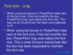font size a tip