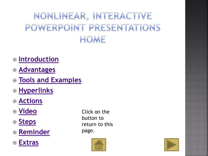 Nonlinear interactive powerpoint presentations home