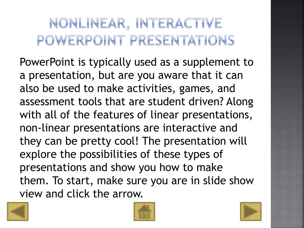 Nonlinear, interactive PowerPoint Presentations
