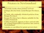 potatoes to newfoundland
