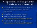 can paramedic students qualify for financial aid and scholarships