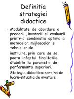 definitia strategiei didactice