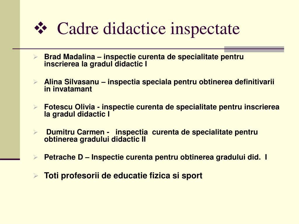 Cadre didactice inspectate