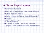 a status report shows